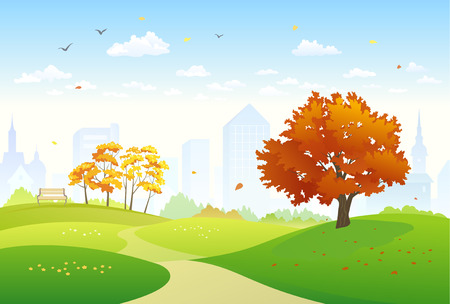 Illustration pour illustration of an autumn city park - image libre de droit
