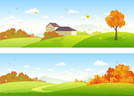 Illustration pour Vector illustration of beautiful autumn panoramic landscapes with a house and woods - image libre de droit