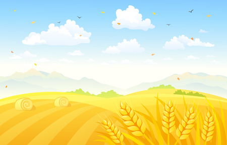 Illustration pour Vector illustration of a beautiful autumn background with wheat fields - image libre de droit