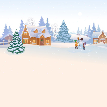 Illustration pour illustration of snowy countryside background with kids making a snowman - image libre de droit