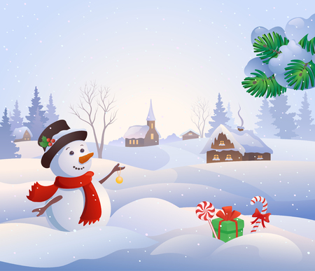 Illustration pour Vector cartoon illustration of a cute snowman at a snowy village - image libre de droit