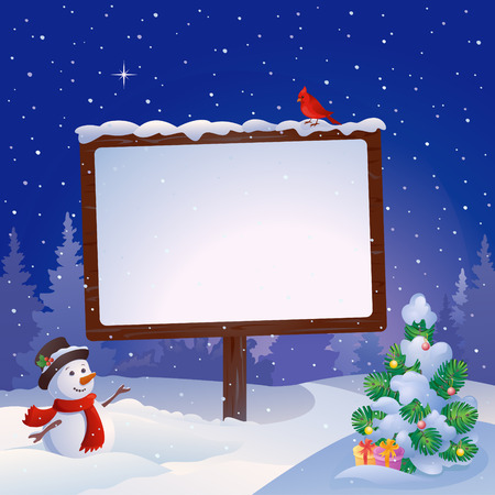 Illustration pour Vector illustration of a snowman at the Christmas signboard and snowy fir tree - image libre de droit