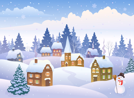 Illustration for Vector illustration of a winter landscape with a small snowy town with a snowman - Royalty Free Image
