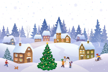 Illustration for Vector illustration of a Christmas scene in a small snowy town with playing kids - Royalty Free Image