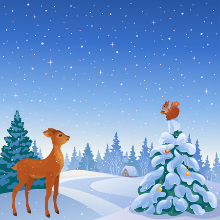 Vector illustration of a winter scene with cute reindeer and squirrel in woodland