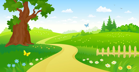 Illustration pour illustration of a summer forest path - image libre de droit