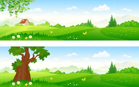 Illustration pour illustration of green summer landscapes - image libre de droit