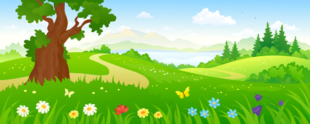Illustration pour illustration of a beautiful summer forest and meadows - image libre de droit