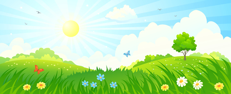 Illustration pour illustration of a summer sunny meadow panorama - image libre de droit
