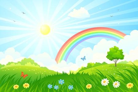 Illustration pour illustration of a beautiful summer landscape with sun and rainbow - image libre de droit