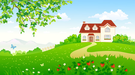 Illustration pour illustration of a summer garden with a strawberry meadow and a house - image libre de droit