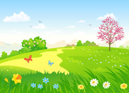 Ilustración de Vector cartoon illustration of a beautiful spring hill with blooming flowers and trees - Imagen libre de derechos