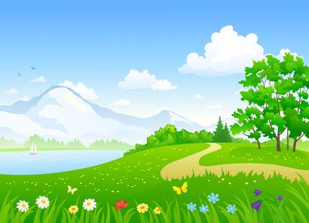 Ilustración de Vector illustration of a beautiful summer landscape with a lake - Imagen libre de derechos