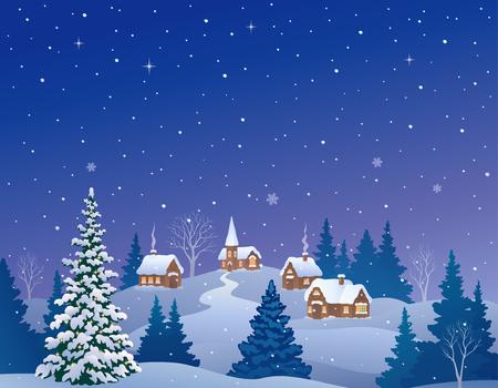 Illustration pour Vector cartoon illustration of a snowy winter village - image libre de droit