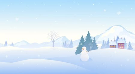 Illustration pour Winter snow covered landscape with a cute snowman, panoramic mountain background - image libre de droit