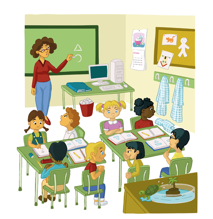 Illustration pour PRIMARY PUPILS AND TEACHER WITH CLASS - image libre de droit
