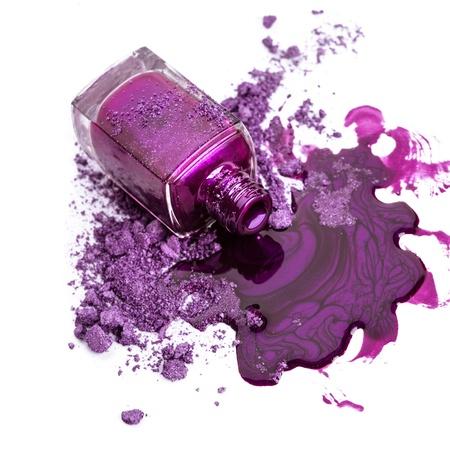 Foto de Purple nail polish with crushed eye shadow - Imagen libre de derechos