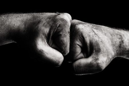 Photo pour Resistance. Dirty male clenched fist - image libre de droit