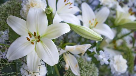 Photo pour Gorgeous bouquet of white lilies and carnations flowers - image libre de droit