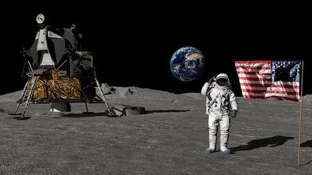 Foto de 3D rendering. Astronaut saluting the American flag. CG Animation. Elements of this image furnished by - Imagen libre de derechos