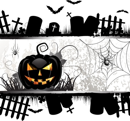 Halloween card design with pumpkin and ghost house