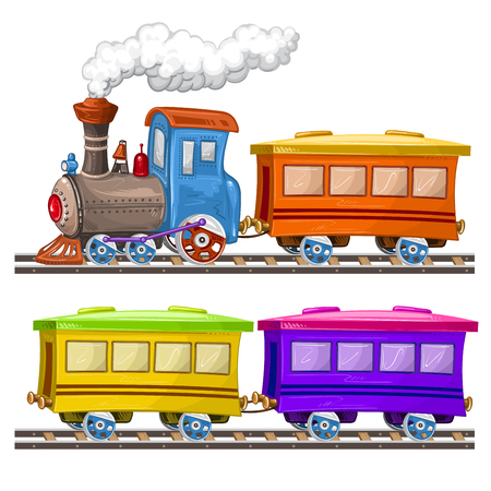 Color trains, wagons and rails