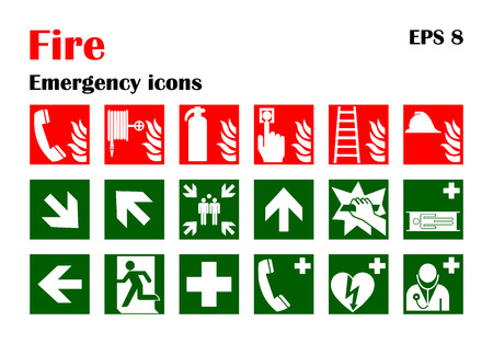 Illustration for Vector fire emergency icons. Signs of evacuations. - Royalty Free Image