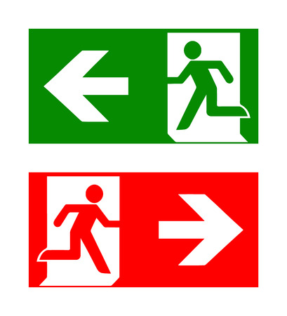 Illustration for Vector fire emergency icons. Signs of evacuations. Fire emergency exit in green and red. - Royalty Free Image