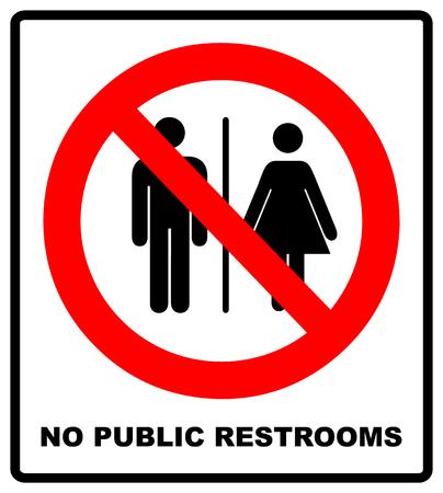 Illustration pour No public restrooms signage. - image libre de droit