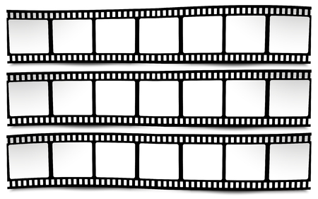 Illustration pour On white in black and white colors film, movie, photo, filmstrip - image libre de droit