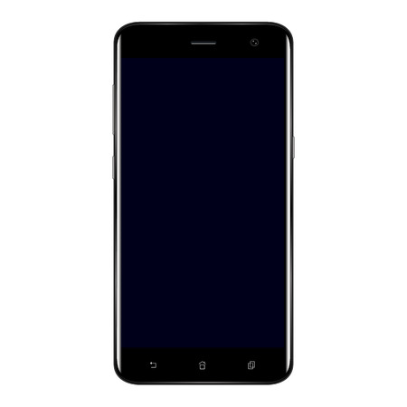 Illustration pour Realistic mobile phone smart phone with blank screen isolated on white background. Vector illustration for printing and web element. Game and application mock up. - image libre de droit