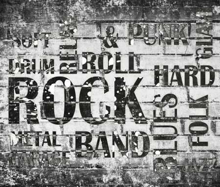 Rock Music Collage on Bricks