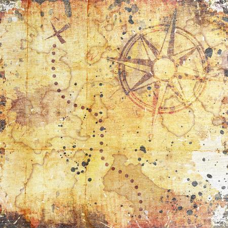 Photo pour old treasure map, on wooden grunge background - image libre de droit
