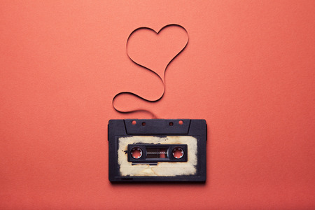 Photo for audio cassette with magnetic tape in shape of heart - Royalty Free Image