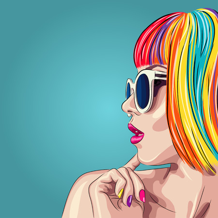 vector beautiful woman wearing colorful wig and white sunglasses.