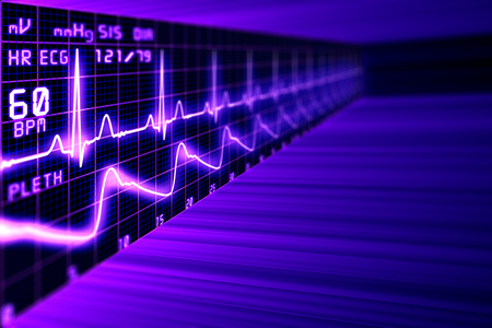 Photo for Heart rate with ECG graph on the futuristic medical monitor in the cyberspace. 3D background - Royalty Free Image