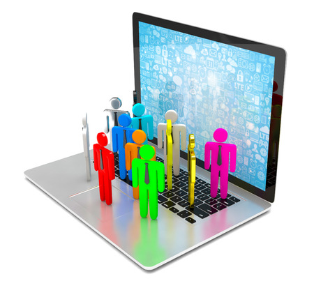 group of people figures on laptop, 3d render