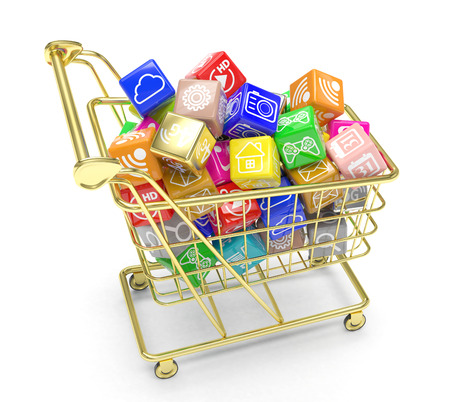shopping cart with application software icons isolated on a white background