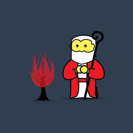 Illustration pour Moses and the burning bush. - image libre de droit