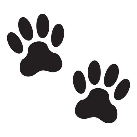 Ilustración de Footprints of a dog isolated on white background. Animal paw icon or sign. Vector illustration. - Imagen libre de derechos