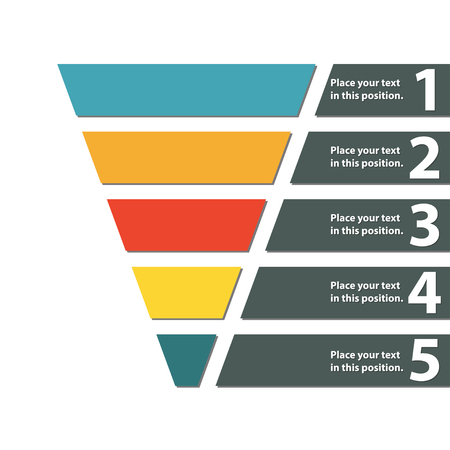 Ilustración de Funnel symbol. Infographic or web design element. Template for marketing, conversion or sales. Colorful vector illustration. - Imagen libre de derechos