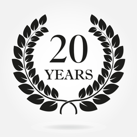 Illustration for 20 years anniversary laurel wreath sign or emblem. Template for celebration and congratulation design. Vector 20th anniversary label isolated on white background. - Royalty Free Image