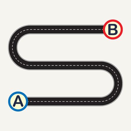 Ilustración de Point A to point B with winding road. Vector illustration. - Imagen libre de derechos