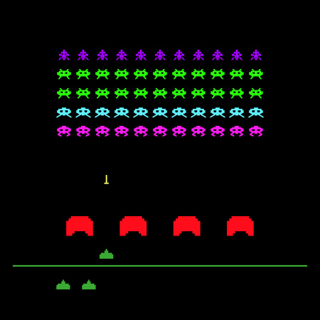 Illustration pour Video game with space, invaders, aliens. Retro style computer game template. Vector Illustration. - image libre de droit