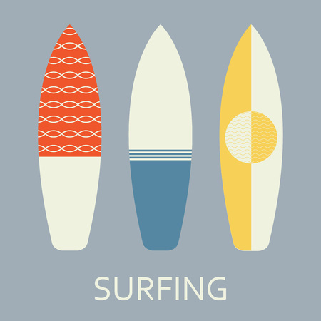 Surfboard set in flat style. Different surfboard decoration. Vector illustration.
