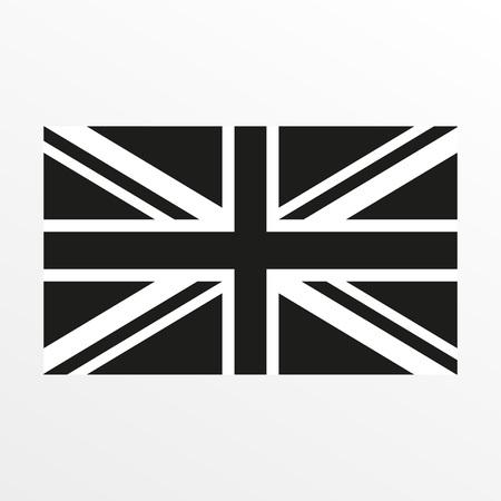 Illustrazione per British flag black and white icon. United Kingdom and Great Britain national symbol. Vector illustration - Immagini Royalty Free