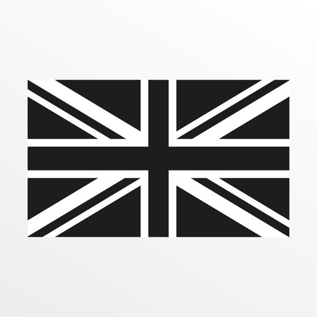 Illustration pour British flag black and white icon. United Kingdom and Great Britain national symbol. Vector illustration - image libre de droit