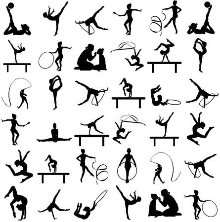 Ilustración de Athlete woman in gym exercise. Ballet girl vector figure isolated on white background. Black silhouette illustration of gymnastic woman. Rhythmic Gymnastics vector silhouette big group. - Imagen libre de derechos