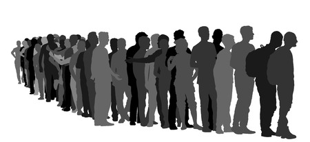 Illustration pour Group of people waiting in line vector silhouette isolated on white background. Group of refugees, migration crisis in Europe. War migration waves going through Schengen Area. Border situation in EU. - image libre de droit