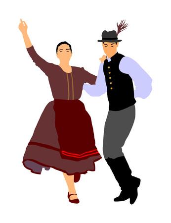 Ilustración de Hungarian folk dancers couple vector. Germany folk dancers couple. Austrian folk dancers couple. East Europe folklore. Couple in love dancing Balkan folk. Folklore event on wedding ceremony. - Imagen libre de derechos